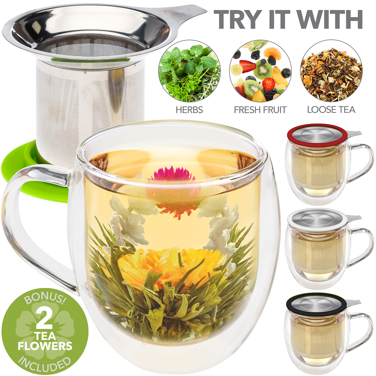 VENICE® Double Wall Glass Mug with Infuser & Green Lid/Coaster – 15oz/430ml